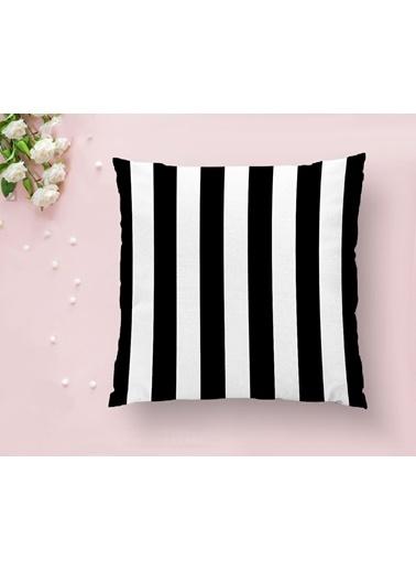 Real Homes Siyah Beyaz Çizgili Dekoratif Yastık Kırlent Kılıfı Renkli